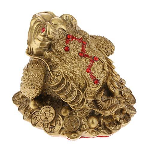 B Blesiya Feng Shui Estatua del Rana de Dinero Sapo de Tres Patas de Cobre Trae Poder Riqueza Adornos Estanterías - M