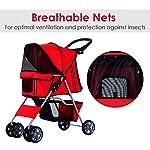 PawHut Pet Stroller Cat Dog Basket Zipper Entry Fold Cup Holder Carrier Cart Wheels Travel Red 15