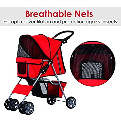 PawHut Pet Stroller Cat Dog Basket Zipper Entry Fold Cup Holder Carrier Cart Wheels Travel Red 6