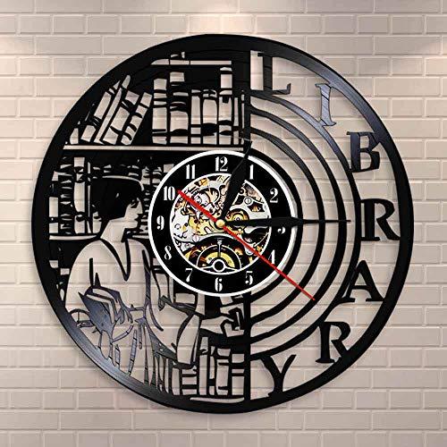 fdgdfgd Reloj de Pared Multicolor 3D Reloj de Pared de diseño Moderno Reloj de Pared de Disco de Vinilo de ratón de Biblioteca Amante de los Libros | Reloj Que Cambia de Color decoración Fresca