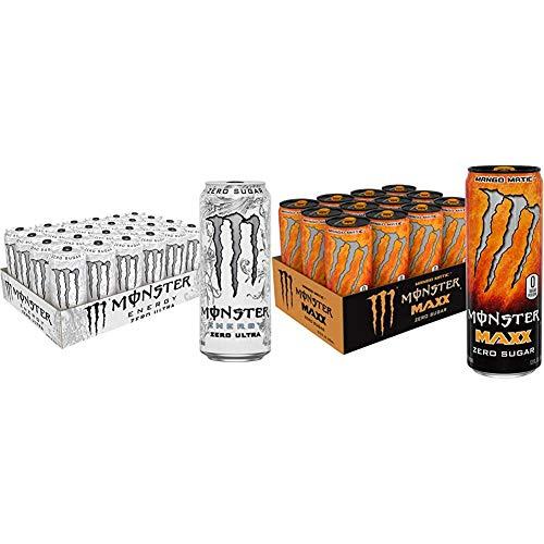 Monster Energy Zero Ultra, Sugar Free Energy Drink, 16 Ounce (Pack of 24) & Maxx Mango Matic, Zero Sugar, Energy Drink, 12 Oz (Pack Of 12)