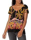 Desigual TS_Black Palms Camiseta, Negro (Negro 2000), Small para Mujer