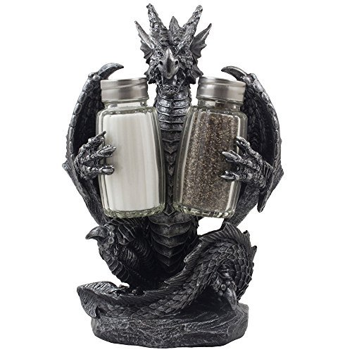 Mythical Dragon Salt and Pepper Shaker Set with Holder Figurine for Medieval & Fantasy Bar or Kitchen Table Decor Sculptures and Gothic Gifts by Home-n-Gifts