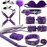 Yomang 10 PCS Rêšt-ŕáîntš Party ŚëxΥ ÉrÔťïč TÔy Special Bundle Sláve Binding Set Adụllt Séxy for Starter Beginner Men Women Couples (Color : Purple)