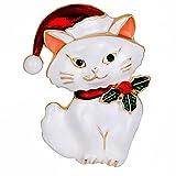 Drawihi 1PC Accesorios de ropa broche Lindo broche de gato de Navidad 43*30MM
