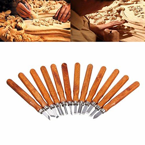 Wood Carving Tools, GOCHANGE 12 Set SK2 Carbon Steel Wood Carving Tools Kit / Wood Chisel Set with Storage Case for Kids, Beginners, Carpenters, Carvers, Artists
