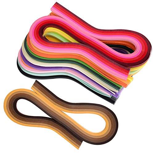 Sunnysam Quilling Papierstreifen Filigran Kunst 1080 Streifen 44 Farben Set Quilling Papier 3 mm Breite 54 cm Länge
