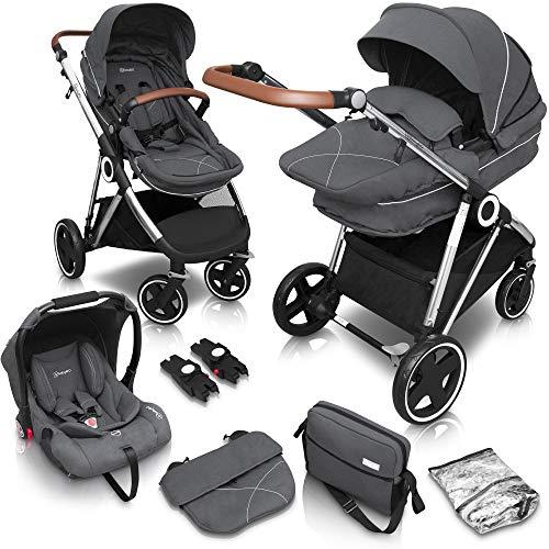 babyGO Kinderwagen 3 in 1 Halime mit Silber Gestell - Kinderwagenset für Babys - Kombikinderwagen für Kinder - Babywanne, Sportsitz und Auto-Babyschale mit viel Zubehör (Grau-Silber Gestell)