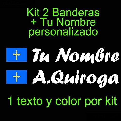 Vinilin - Pegatina Vinilo Bandera Asturias + tu Nombre - Bici, Casco, Pala De Padel, Monopatin, Coche, etc. Kit de Dos Vinilos (Blanco)