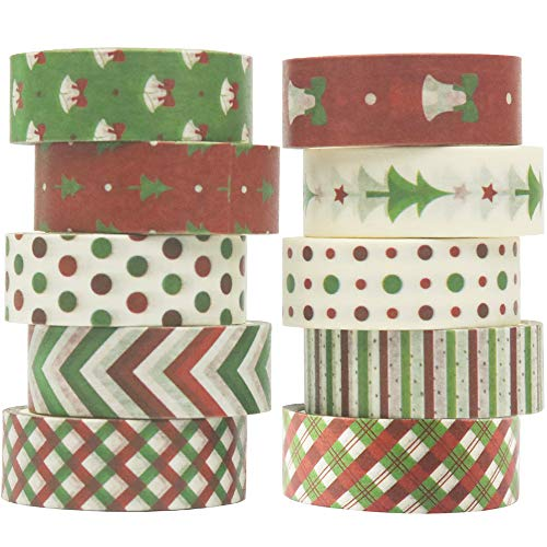 YUBBAEX Christmas Washi Tape Set Masking Tape Decorative for Arts, DIY Crafts, Bullet Journal Supplies, Planners, Scrapbook, Card/Gift Wrapping -15mm- (Retro X'Mas 10 Rolls)