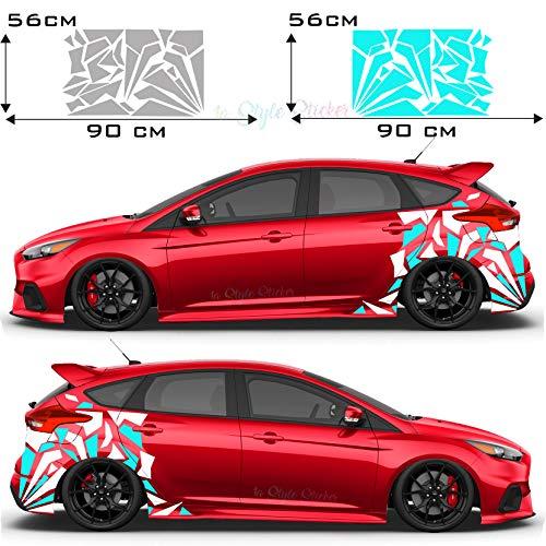 Auto Aufkleber Seitendekor Camouflage Spitzen ST Style Autodekor Set Spitzen Aufkleber