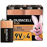 Duracell Plus 9V Block Alkaline Batterien 6LR61, 4er Pack