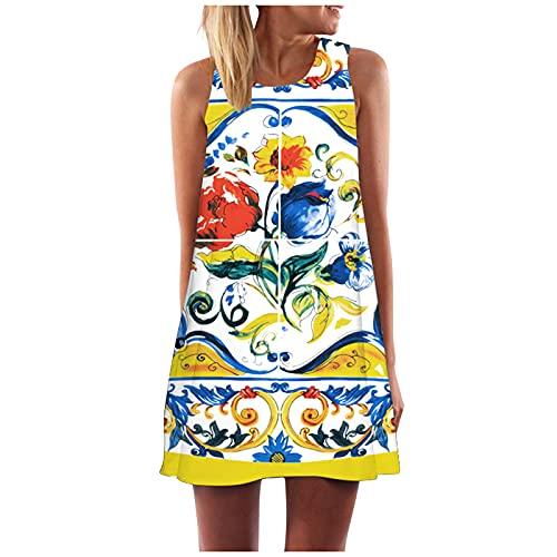 TYTUOO Vestido de verano suelto para mujer, vintage, bohemio, sin mangas, impresión de playa, corto, vestido de playa casual