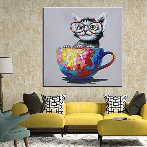 Abstract dier olieverf canvas modern huis wanddecoratie kunst foto productie kleurrijke beker kat mes schilderij frameloze schilderij 60x60cm