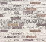 ERISMANN 6703-10 - Papel pintado de vinilo con textura de ladrillo gris