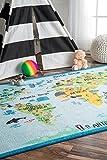nuLOOM Animal World Map Kids Rug, 5' x 7' 5', Baby Blue