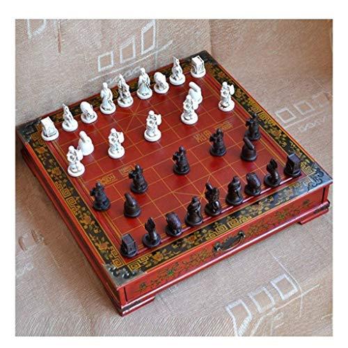 Chess Set, Juego de ajedrez antiguo Guerrero de terracota chino Simulación de personaje Pieza de ajedrez estéreo con cajón Patrón clásico Tablero de ajedrez Ho (Ejercicio de pensamiento intelectual)