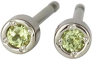 新宿銀の蔵 アレルギーフリー 国産 純チタン 誕生石 一粒 ペリドット ラウンド ピアス (2P 両耳用) レディース 金属アレルギー 対応