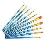 Xpassion 画材筆 ペイント ブラシ アクリル筆 水彩筆 油絵筆 丸筆 平型筆 短毛筆 10本セット (ブルー)