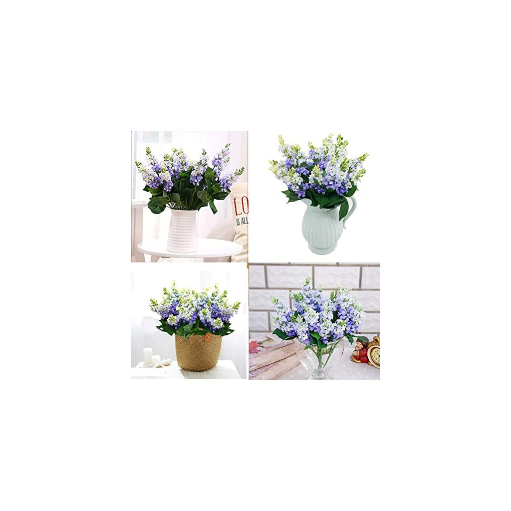 Guagb Artificial Fake Flowers Silk Plastic Plant Arrangement For Home Indoor Outdoor Garden Wedding Table Vase Decorations Faux Snapdragon Flower 3 Bouquets Lilac Silk Flower Arrangements
