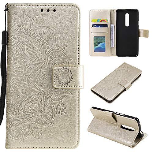CoverKingz Handyhülle für Nokia 2.4 - Handytasche mit Kartenfach Nokia 2.4 Cover - Handy Hülle klappbar Motiv Mandala Gold