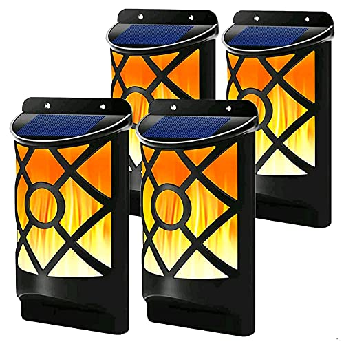 Solar Flame Lights Outdoor, Fitybow Waterproof Flickering Flame Solar Lights Dark Sensor Auto On/Off 66 LED Solar Powered Wall Mounted Night Lights Lattice Design for Patio Deck Driveway (4 Pack)