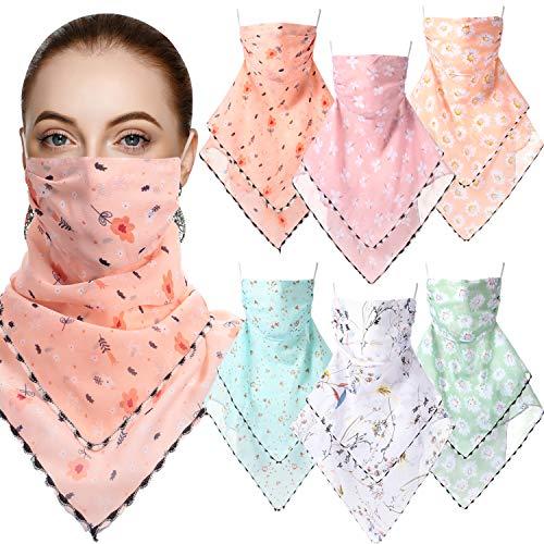 6 Pieces Women Sun Face Cover Colorful Chiffon Neck Gaiter Face Wrap Non-Slip UV Protection Scarf Bandana (Multicolor)