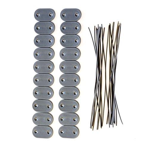 Jarolift Kit Di Fissaggio Per Cannicci PVC Da Giardino, Grigio/Pacco Da 40