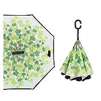 リバースダブル傘Cロングハンドル耐久性の高い品質サンシェードUV保護男性と女性傘 (Color : Green leaf)