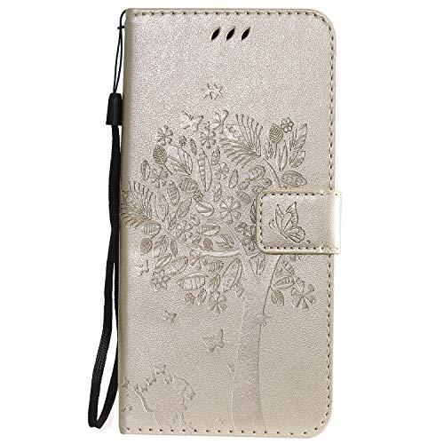 Hülle für LG V50 ThinQ 5G Hülle Leder,[Kartenfach & Standfunktion] Flip Case Lederhülle Schutzhülle für LG V50 / V500 - EYKT021456 Gold