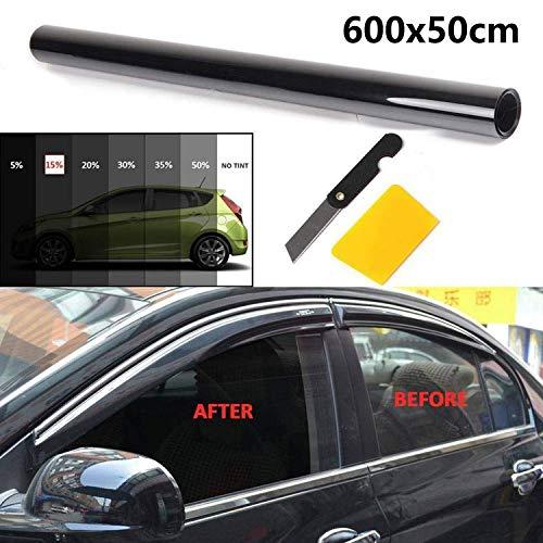R SODIAL Tinte de ventana 50cm x 6m tinte de ventana de cine Negro 5/% VLT Rollo 2 capas de reparacion de lunas del coche