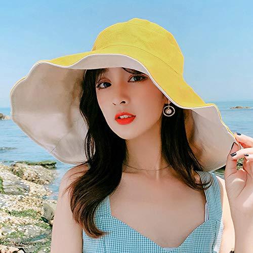 ZLBYJ Hut Damen Strohhut Damen Übergroße Visierabdeckung Fischerhut UV-Sonnenschutz-M (56-58 cm) _16CM hellgelber Reis auf beiden Seiten