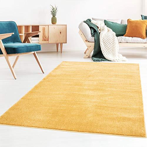 Taracarpet Kurzflor-Designer Uni Teppich extra weich fürs Wohnzimmer, Schlafzimmer, Esszimmer oder Kinderzimmer Gala gelb 080x150 cm
