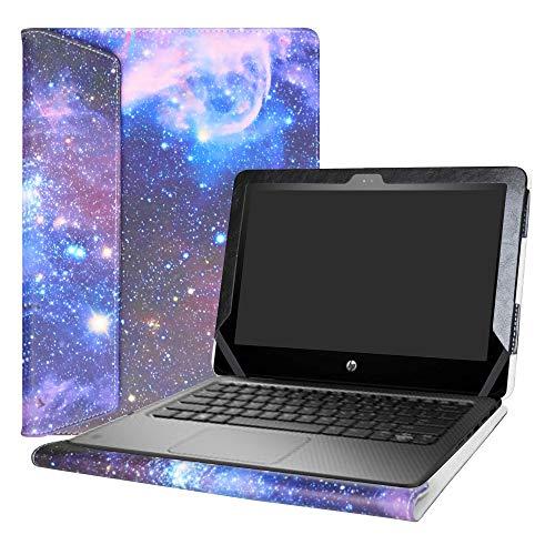 Alapmk Diseñado Especialmente La Funda Protectora de Cuero de PU para 11.6' HP ProBook x360 11 G1 EE / G2 EE / G3 EE / G4 EE Series Ordenador portátil,Galaxy
