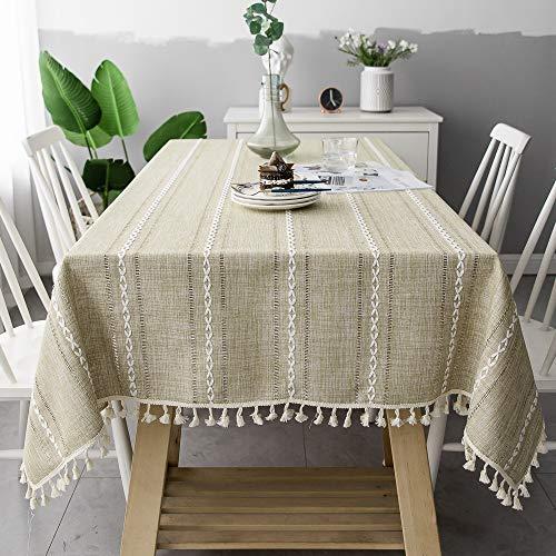 pridesong Hohl einfarbig gestreift Jacquard Tischdecke Weihnachten Tischdecke Tischdecke Couchtisch Matte Baumwolle Leinen Material Mandelgelb 140 * 180cm