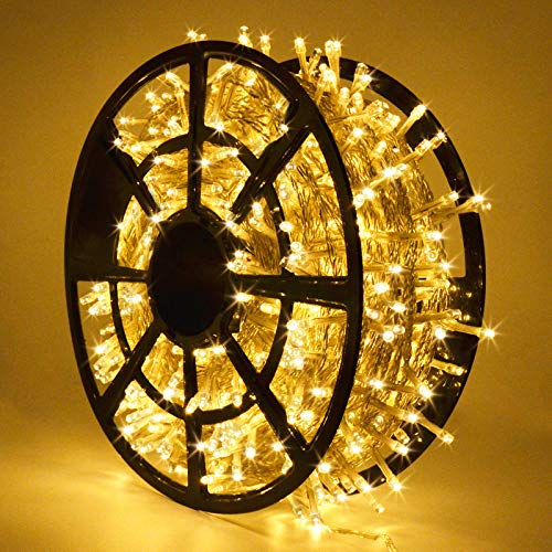 JMEXSUSS 206FT 600 LED Christmas Lights Outdoor Waterproof 8 Modes Christmas String Lights Warm White Christmas Tree Lights Indoor Spring Plug in
