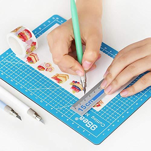 SNJ 1pc Juego de Tablas de Cuchillas de Corte Papel Washi Tape Talla Pad Goma Edición multipropósito Grabado Rail Paper Cutting, Azul