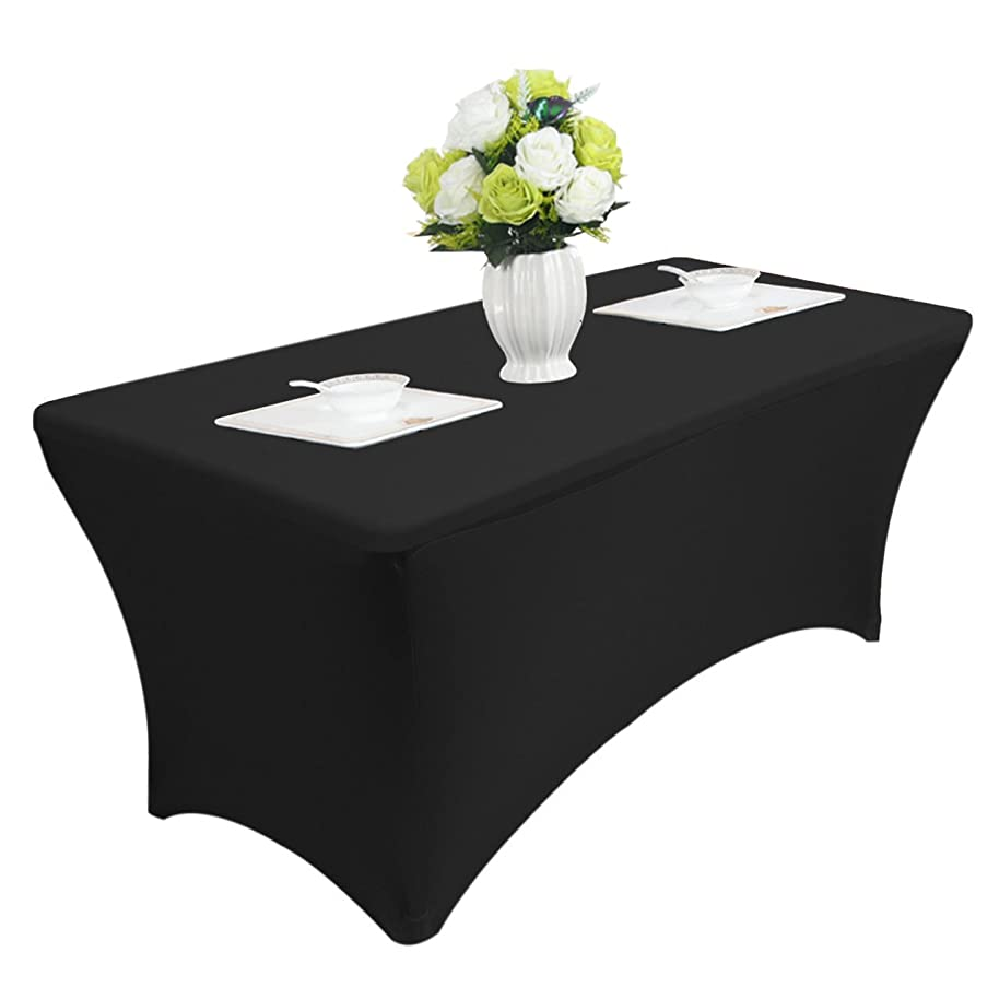 Reliancer 4\6\8FT Rectangular Spandex Table Cover Four-Way Tight Fitted Stretch Tablecloth Table Cloth for Outdoor Party DJ Tradeshows Banquet Vendors Weddings Celebrations(8FT,Black)