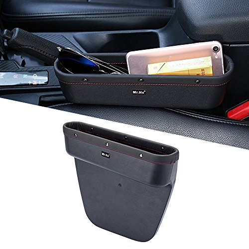 Mr. Ho Auto Seat Seiten-Schlitz-Taschen Leder Auto-Sitzablagefach Organizer Fit Für Sitz und Konsole Slot von Autos Schwarz (Links)