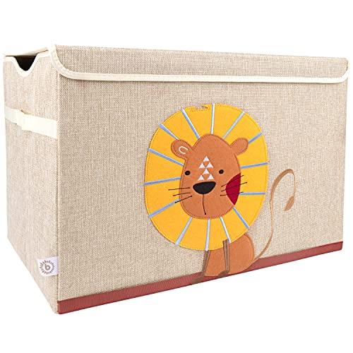 Bieco Aufbewahrungsbox mit Deckel | 65L faltbar | ca. 36x36x51cm | Spielzeugkiste mit Deckel | Aufbewahrungsbox Kinder | Kisten mit Deckel | Aufbewahrungsbox Groß | Wickeltisch Organizer | Löwen Motiv