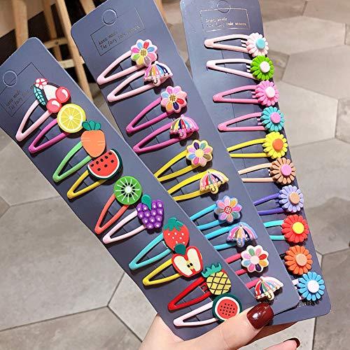 good01 Pinza De Pelo De Flores De Frutas 10 Piezas, Pinzas De Pelo De Horquilla De Paraguas Preciosas Pinzas para El Cabello Accesorios para Peinar para Bebés Niñas Flor Multicolor