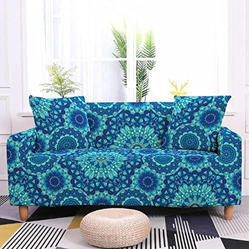 Fundas de Sofá Estampado Patrón Azul 3 Plazas Elasticas Protector de sofá Funda Sofá Antideslizante Funda Elástico Universal Ajustables Protector Cubierta de Muebles