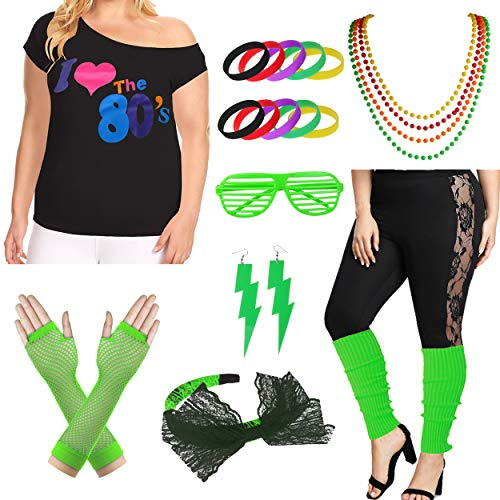 Plus Size I Love The 80's T-Shirt 1980s Pop Party Women's Costume Set - http://coolthings.us