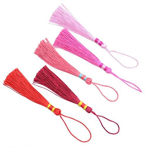 100 Stücke 5,9 Zoll Handgemachte Silky Floss Quaste Lesezeichen Quaste Anhänger für DIY Handwerk Jewerly Frauen Ohrring (Rote Serie)