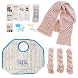Knitting Starter Kit for Beginners | Includes 3 Patterns with Video Tutorials | Loops Luxe Chunky Royal Alpaca Yarn | Learn to Knit Kit | Pink