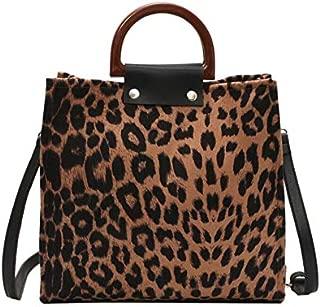 TOOGOO Leopard Women Handbags Big Capacity Pu Leather Females Handbags Fashion Leopard Women Messenger Bags Handle Tote Bags for Women, Brown