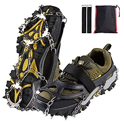 Xflyee Traction Cleats Ice Snow Grips with 19 Spikes for Walking, Jogging, Climbing and Hiking (Black, L (Shoe Size: W 8.5-11.5/M7-9.5))