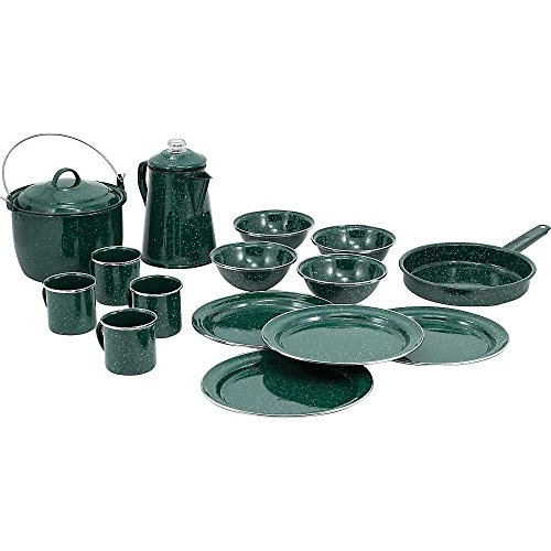 GSI Outdoors Pioneer Enamelware Camp Set with All Your Camping Needs for Four with Pot, Pan, Table Setting and Percolator in Durable and Classic Design