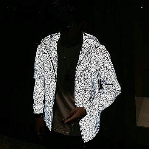 WyaengHai Reflecterende Heren Jas Hip-hop Lichtgevende Kleding Paar Jas Herfst Veiligheid Hardloopjas Reflecterende Jas voor Buiten