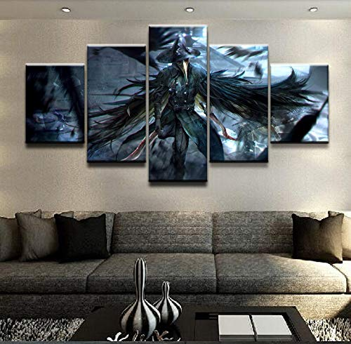 JSBVM Mauer Segeltuch Kunst Poster Rahmen Zimmer Zuhause Dekor 5 Stücke Blutgeborene Krähe Bilder Gemälde Modern HD gedruckt,A,20×35×2+20×45×2+20×55×1